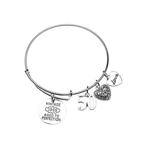 Infinity Collection 50th Birthday Gifts For Women Expandable Charm Bracelet 1969 Aged