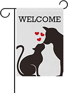ZZAEO Welcome Black Dog Cat Silhouette On White Small Garden Flag Vertical Polyester Double-Sided Printed Home Outdoor Yard Holiday Decor-12 x 18 inch