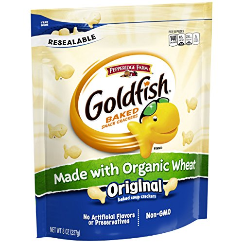 - Pepperidge Farm, Goldfish, Crackers, Made with Organic Wheat, Original, 8 oz., Resealable Bag