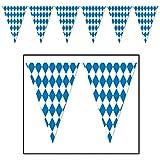Beistle 120 Foot Oktoberfest Bavarian Check Flag Pennant Banner