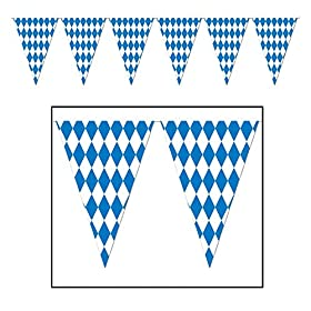 Beistle 120 Foot Oktoberfest Bavarian Check Flag P...