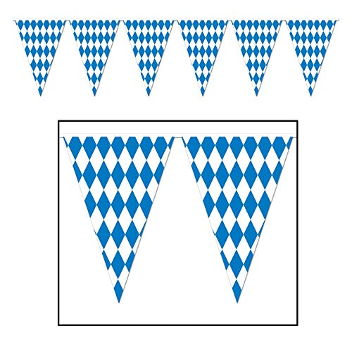 Beistle 120 Foot Oktoberfest Bavarian Check Flag Pennant Banner by Beistle