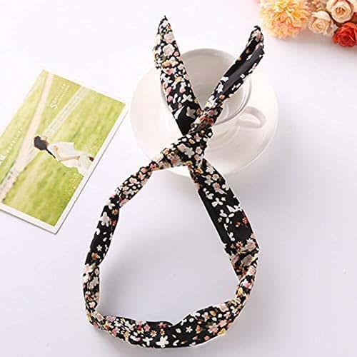 1Pcs Hair Hairband Velvet Hoop Headband Girls Wide Accessories Head Cross Tie (Color - #black)