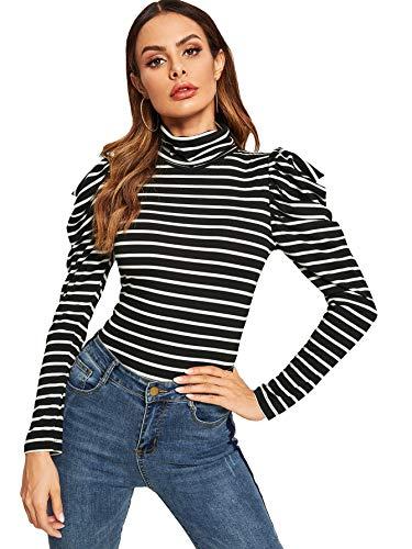 Striped Puff Sleeve Top - Romwe Women's Elegant Puff Sleeve Turtle Neck Striped Tee Top Black## M