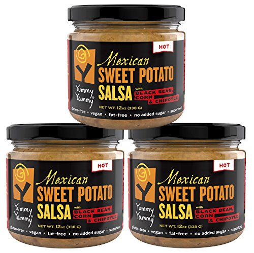 Yummy Yammy Mexican A-Little-Bit-Hot Salsa, Better-Than-Hummus with Roasted Sweet Potato, Black Bean, Corn & Chipotle - 3 Jars - Best for Nachos, Eggs, Burgers & Burritos, Quinoa (Chicken Black Beans Corn)