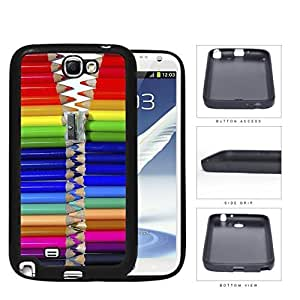 Cool Colorful Pencils Zipper Rubber Silicone TPU Cell Phone Case Samsung Galaxy Note 2 II N7100