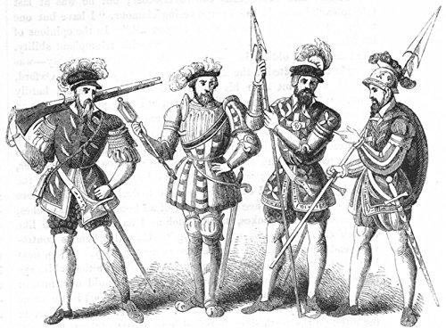 MILITARIA. Military costume, Henry VIII - 1845 - old print - antique print - vintage print - Militaria art (Vintage Military Costumes)