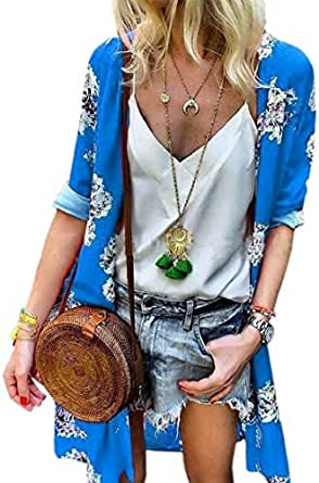 Womens Chiffon Kimono Long Sleeves Loose Fit Floral Cardigan Blue 2XL