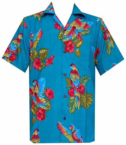 Camp Polyester Parrot Chemise Beach Bleu Party Imprimer Turquoise Hawaïenne Aloha AYYgTq7O