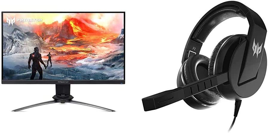 "Acer Predator XN253Q Pbmiprzx 24.5"" Full HD (1920 x 1080) TN 144Hz Gaming Monitor with Acer Predator Galea 311 True Harmony Sound Gaming Headset"