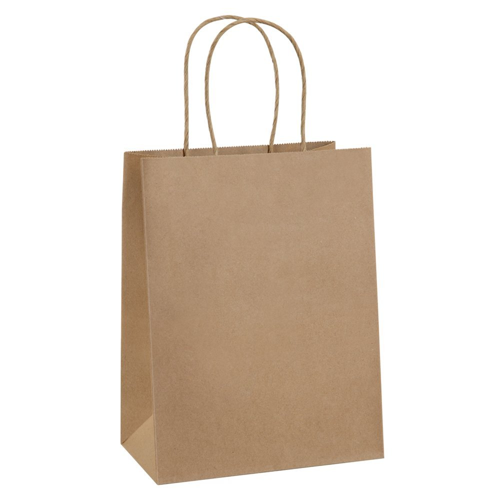 "Shopping Bags 8x4.75x10.5"" 50Pcs BagDream Gift Bags,Cub, Paper Bags, Kraft Bags, Retail Bags, Brown Gift Bags with Handles"
