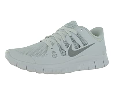 d65edfe8bc8b NIKE Free 5.0 + White Silver Women s Running Shoes 580591-100 Size 10   Amazon.co.uk  Shoes   Bags