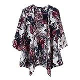 SODIAL(R) Vintage Women Ink Floral Print Blazer Batwing Kimono Coat Jacket Cardigan M