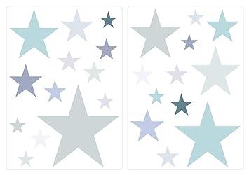 dekodino Wandtattoo Kinderzimmer Wandsticker Set Pastell Sterne in ...