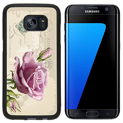 Liili Premium Samsung Galaxy S7 Edge Aluminum Snap Case vintage postcard with a beautiful rose hand drawing IMAGE ID 16592451 ()