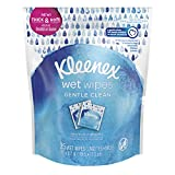 Kleenex Wet Wipes, For Hands and Face, No Chemicals, On-the-go, 25 Wipes, Individually Wrapped, Gentle Clean to remove dirt and makeup