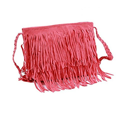 VWH Women's Shoulder Bag Vintage Tassel Handle Bag pink