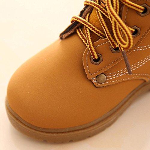 OverDose Unisex-Baby Weiche Warme Winter Baby Kind Armee Art Mode Gummisohle Martin Stiefel Warme Schuhe mit Baumwolle (1-6 Jahre Alt) Gelb+Baumwolle