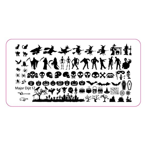 HP95(TM) Halloween DIY Nail Art Image Stamp Stamping Plates Manicure Template Nail sticker (B)