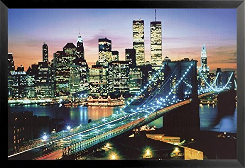 Buyartforless Framed The City That Never Sleeps - New York City 36x24 Photograph Art Print Poster Skyline Manhattan Brooklyn Bridge Twin Towers World Trade Center