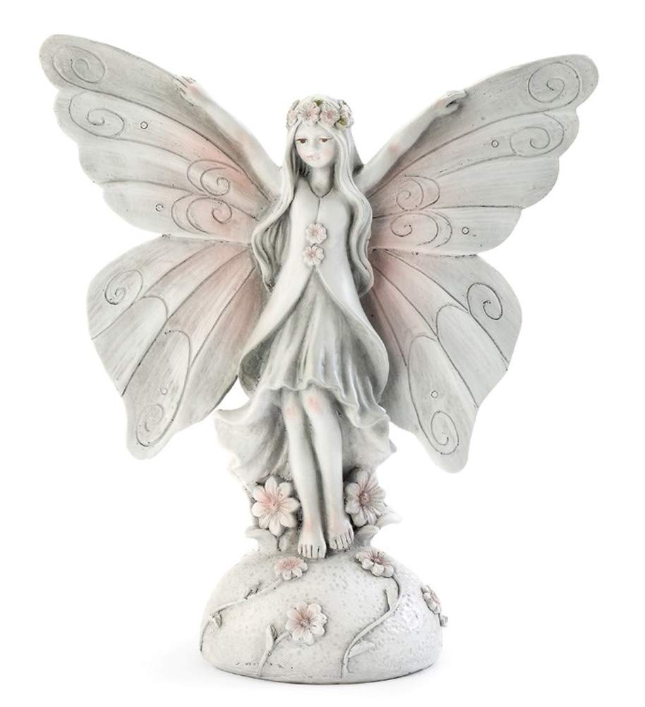 Napco Butterfly Wing Fairy Floral Pink and White 11 x 10 Resin Stone Figurine