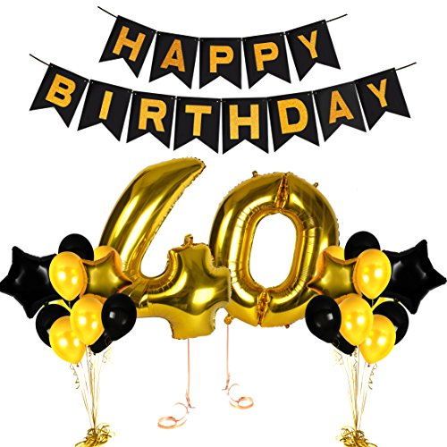 40th Birthday Decorations Ideas and Gifts for Women and Men Photo Booth Props and Happy Bday Garlands Gold Backdrop Centerpieces Party Supplies -