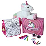 Magical Unicorn Gift Set with 15' Plush Stuffed Unicorn, Pink Sunglasses, Unicorn Purse, Sparkling Gem Stones, Glitter and 5 Markers Included - Color Your Own Unicorn Bag - Great Gift for Birthday