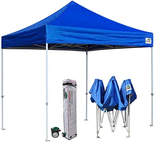 Eurmax Premium 10 x10 Ez Pop-up Canopy Tent Commercial Instant Canopies Shelter with Heavy Duty Wheeled Carry Bag Royal Blue