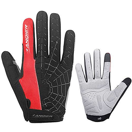 Lanyi Cycling Gloves Bike Gloves Mens Womens Touch Screen Full Finger Shock-Absorbing Pad Anti-Slip Biking Gloves Mountain Climbing Bicycle Gloves (Red,M)