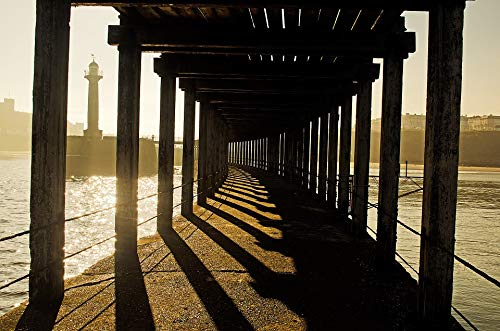 Peel-n-Stick Poster of Corridor Pillars Wooden Old Sea Whitby Lighthouse Vivid Imagery Poster 24 x 16 Adhesive Sticker Poster Print (Lighthouse Pillar)