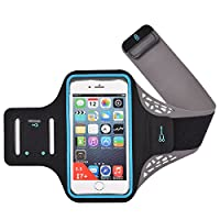 TenBen Sports Running Armband for iPhone 8 Plus/ 7 Plus/ 6S Plus/ 6 Plus/X 8 7 6S 6, Galaxy S7 S6 – Fingerprint Touch with Waterproof Adjustable Reflective Velcro & Key/Card Holder