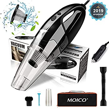 Car Vacuum Cleaner, MOICO High Power Portable Vacuum Cleaner for Car Small Handheld Vacuum Car Cleaning Corded 5000PA Wet and Dry Use with LED Light Low Noise 16.4FT(5M) DC 12V Carry Bag for All Car