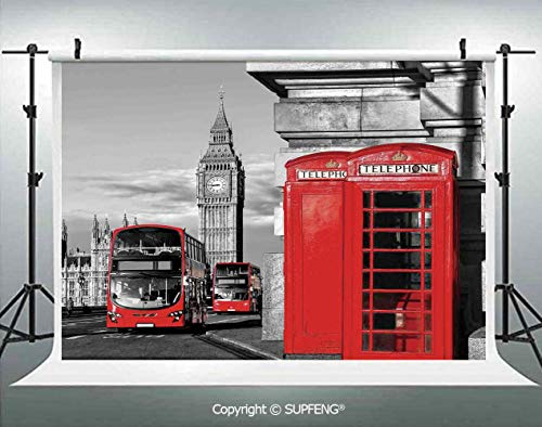 Background London Telephone Booth in The Street Traditional
