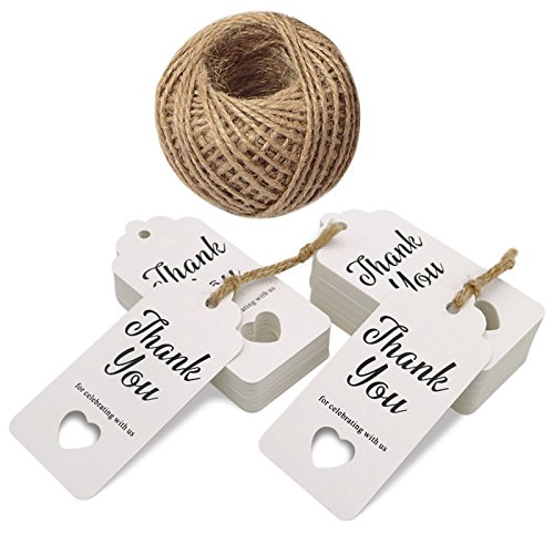 White Gift Tags,Baby Shower Tags,Hollow Heart Thank You for Celebrating with Us,100 Pcs Kraft Thank You Tags for Wedding Party Favors with 100 Feet Jute Twine