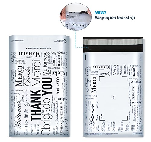 8x10 Designer Poly Mailers with Global THANK YOU Design, Easy Tear Strip, Self Adhesive & Strong Glue, Anti-static Release Liner - 2.4 Mil, 100 (Money Value T-shirt)