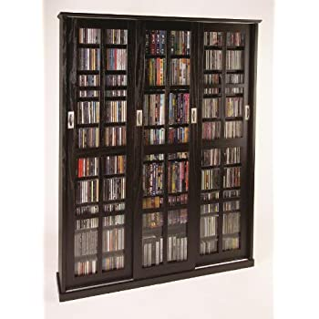 Leslie Dame MS 1050ES Mission Style Multimedia Storage Cabinet With Sliding  Glass Doors, Espresso