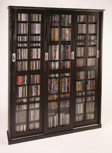 Sliding Glass 3 Door Multimedia Storage Cabinet Finish: Espresso