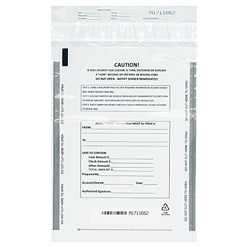 Bank Deposit Bag - Benail Deposit Bags Security Pocket Bank 9 Inch x 12 Inch (White, 100 Pack)