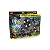 Bell + Howell Disk Lights Gunmetal - Heavy Duty Outdoor Solar Pathway Lights - 4 LED, Auto On/Off, Water Resistant, with Included Stakes, for Garden, Yard, Patio and Lawn - As Seen on TV