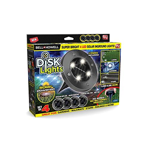 Bell + Howell Disk Lights Gunmetal - Heavy Duty Outdoor Solar Pathway Lights - 4 LED, Auto On/Off, Water Resistant, with Included Stakes, for Garden, Yard, Patio and Lawn - ()