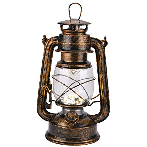 - Vintage LED Hurricane Lantern with Dimmer Switch and 15 LEDs, Warm White Electric Kerosene Lamp Battery Operated, Hand-Painted Gold Metal Hanging Lantern for Indoors and Outdoor Usage