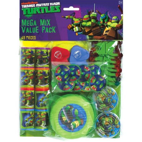 Awesome Teenage Halloween Costumes (Amscan Awesome TMNT Mega Mix Birthday Party Favors Value Pack (48 Piece), 11.3 x 8.3