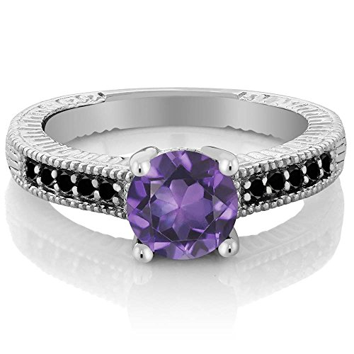 1.47 Ct Round Purple Amethyst and Black Diamond 925 Sterling Silver Women's Engagement Ring Jewelry (Size 9) by Gem Stone King