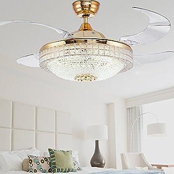 Huston Fan Gold Bedroom Retractable Fandelier Ceiling Fan
