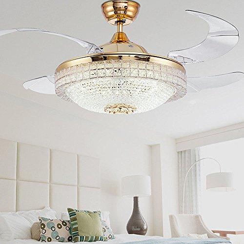 Huston Fan Modern Ceiling Fan Light 42-inch Brushed Nickel Ceiling Fan With Remote Control Chandelier With Fan Contemporary Chandelier Ceiling Fan (42 Inch, Gold3)