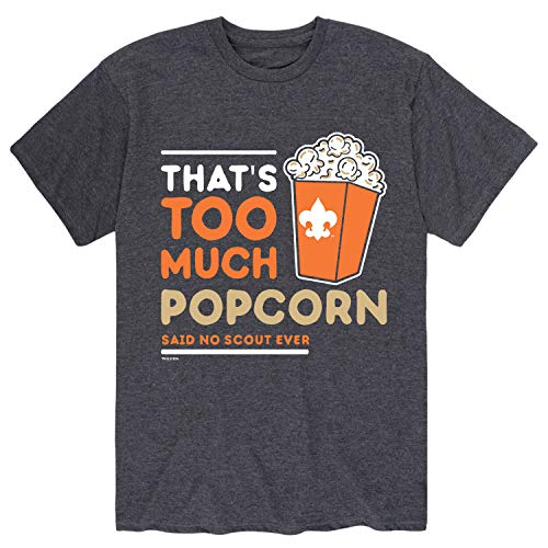 Boy Scouts of America Thats Too Much Popcorn - Adult Short Sleeve Tee Heather Charcoal