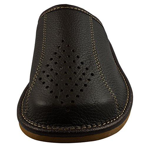 Natural Line Pantuflas para hombre piel, con suela de ortopedia o forro de lana, varios colores disponibles - Deep Brown (Wool Lining)