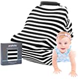 Stretchy Baby Car Seat Cover Canopy | Nursing Cover | Shopping Cart Cover | Infinity Scarf | Best Baby Carseat Gift for Girls & Boys | Fits Most Car Seats | Great for Breastfeeding Moms