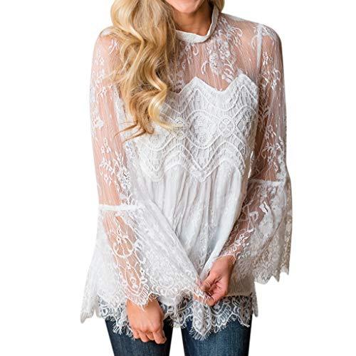 〓COOlCCI〓Women Long Sleeve Flare Sleeve Sheer Mesh Lace Patchwork Blouse Peplum Top Lrregular Hem Shirts Pullover Tops White