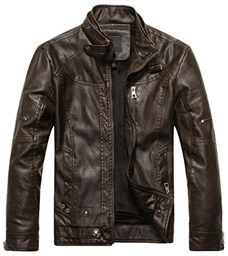(chouyatou Men's Vintage Stand Collar Pu Leather Jacket (Large, Coffee))